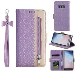 Luxury Lace Zipper Stitching Leather Phone Wallet Case for Samsung Galaxy S10e (5.8 inch) - Purple