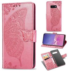 Embossing Mandala Flower Butterfly Leather Wallet Case for Samsung Galaxy S10e (5.8 inch) - Pink