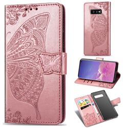 Embossing Mandala Flower Butterfly Leather Wallet Case for Samsung Galaxy S10e (5.8 inch) - Rose Gold