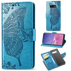 Embossing Mandala Flower Butterfly Leather Wallet Case for Samsung Galaxy S10e (5.8 inch) - Blue