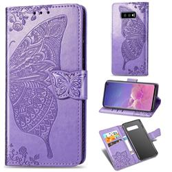 Embossing Mandala Flower Butterfly Leather Wallet Case for Samsung Galaxy S10e (5.8 inch) - Light Purple