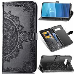 Embossing Imprint Mandala Flower Leather Wallet Case for Samsung Galaxy S10e (5.8 inch) - Black