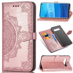 Embossing Imprint Mandala Flower Leather Wallet Case for Samsung Galaxy S10e (5.8 inch) - Rose Gold