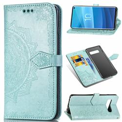 Embossing Imprint Mandala Flower Leather Wallet Case for Samsung Galaxy S10e (5.8 inch) - Green