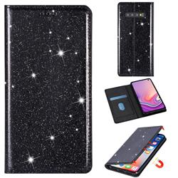 Ultra Slim Glitter Powder Magnetic Automatic Suction Leather Wallet Case for Samsung Galaxy S10e (5.8 inch) - Black