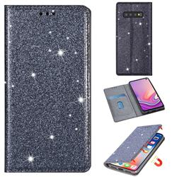 Ultra Slim Glitter Powder Magnetic Automatic Suction Leather Wallet Case for Samsung Galaxy S10e (5.8 inch) - Gray