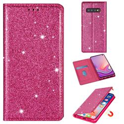 Ultra Slim Glitter Powder Magnetic Automatic Suction Leather Wallet Case for Samsung Galaxy S10e (5.8 inch) - Rose Red