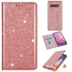 Ultra Slim Glitter Powder Magnetic Automatic Suction Leather Wallet Case for Samsung Galaxy S10e (5.8 inch) - Rose Gold