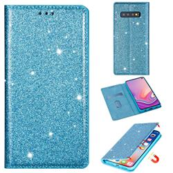 Ultra Slim Glitter Powder Magnetic Automatic Suction Leather Wallet Case for Samsung Galaxy S10e (5.8 inch) - Blue