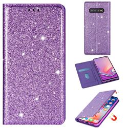 Ultra Slim Glitter Powder Magnetic Automatic Suction Leather Wallet Case for Samsung Galaxy S10e (5.8 inch) - Purple
