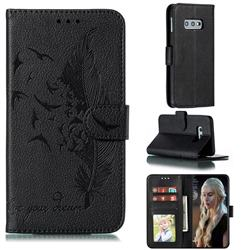 Intricate Embossing Lychee Feather Bird Leather Wallet Case for Samsung Galaxy S10e (5.8 inch) - Black
