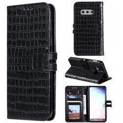 Luxury Crocodile Magnetic Leather Wallet Phone Case for Samsung Galaxy S10e (5.8 inch) - Black