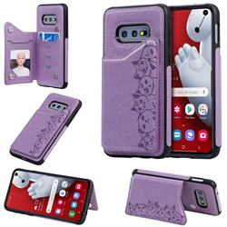 Yikatu Luxury Cute Cats Multifunction Magnetic Card Slots Stand Leather Back Cover for Samsung Galaxy S10e (5.8 inch) - Purple