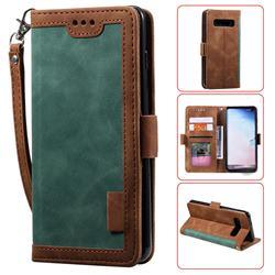 Luxury Retro Stitching Leather Wallet Phone Case for Samsung Galaxy S10e (5.8 inch) - Dark Green