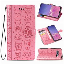Embossing Dog Paw Kitten and Puppy Leather Wallet Case for Samsung Galaxy S10e (5.8 inch) - Pink