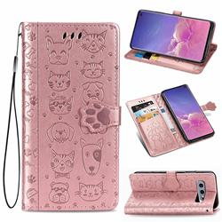 Embossing Dog Paw Kitten and Puppy Leather Wallet Case for Samsung Galaxy S10e (5.8 inch) - Rose Gold
