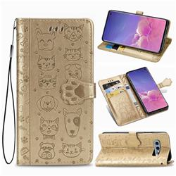 Embossing Dog Paw Kitten and Puppy Leather Wallet Case for Samsung Galaxy S10e (5.8 inch) - Champagne Gold