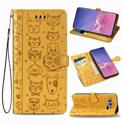 Embossing Dog Paw Kitten and Puppy Leather Wallet Case for Samsung Galaxy S10e (5.8 inch) - Yellow