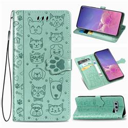 Embossing Dog Paw Kitten and Puppy Leather Wallet Case for Samsung Galaxy S10e (5.8 inch) - Green
