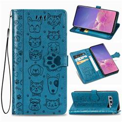 Embossing Dog Paw Kitten and Puppy Leather Wallet Case for Samsung Galaxy S10e (5.8 inch) - Blue