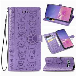 Embossing Dog Paw Kitten and Puppy Leather Wallet Case for Samsung Galaxy S10e (5.8 inch) - Purple