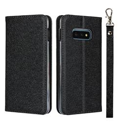 Ultra Slim Magnetic Automatic Suction Silk Lanyard Leather Flip Cover for Samsung Galaxy S10e (5.8 inch) - Black