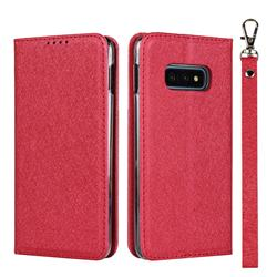 Ultra Slim Magnetic Automatic Suction Silk Lanyard Leather Flip Cover for Samsung Galaxy S10e (5.8 inch) - Red