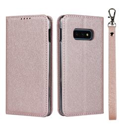 Ultra Slim Magnetic Automatic Suction Silk Lanyard Leather Flip Cover for Samsung Galaxy S10e (5.8 inch) - Rose Gold