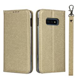 Ultra Slim Magnetic Automatic Suction Silk Lanyard Leather Flip Cover for Samsung Galaxy S10e (5.8 inch) - Golden