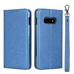 Ultra Slim Magnetic Automatic Suction Silk Lanyard Leather Flip Cover for Samsung Galaxy S10e (5.8 inch) - Sky Blue