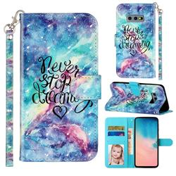 Blue Starry Sky 3D Leather Phone Holster Wallet Case for Samsung Galaxy S10e (5.8 inch)