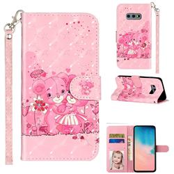 Pink Bear 3D Leather Phone Holster Wallet Case for Samsung Galaxy S10e (5.8 inch)