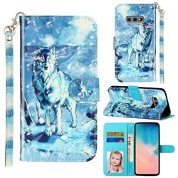 Snow Wolf 3D Leather Phone Holster Wallet Case for Samsung Galaxy S10e (5.8 inch)