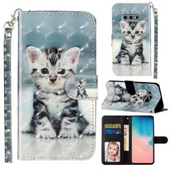 Kitten Cat 3D Leather Phone Holster Wallet Case for Samsung Galaxy S10e (5.8 inch)