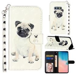 Pug Dog 3D Leather Phone Holster Wallet Case for Samsung Galaxy S10e (5.8 inch)