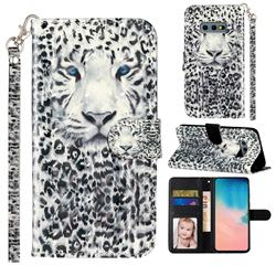 White Leopard 3D Leather Phone Holster Wallet Case for Samsung Galaxy S10e (5.8 inch)