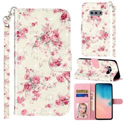 Rambler Rose Flower 3D Leather Phone Holster Wallet Case for Samsung Galaxy S10e (5.8 inch)