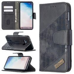 BinfenColor BF04 Color Block Stitching Crocodile Leather Case Cover for Samsung Galaxy S10e (5.8 inch) - Black