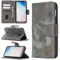 BinfenColor BF04 Color Block Stitching Crocodile Leather Case Cover for Samsung Galaxy S10e (5.8 inch) - Gray