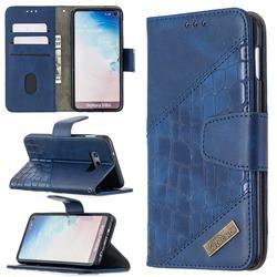 BinfenColor BF04 Color Block Stitching Crocodile Leather Case Cover for Samsung Galaxy S10e (5.8 inch) - Blue