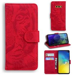 Intricate Embossing Tiger Face Leather Wallet Case for Samsung Galaxy S10e (5.8 inch) - Red