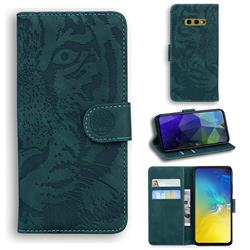 Intricate Embossing Tiger Face Leather Wallet Case for Samsung Galaxy S10e (5.8 inch) - Green
