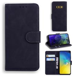 Retro Classic Skin Feel Leather Wallet Phone Case for Samsung Galaxy S10e (5.8 inch) - Black
