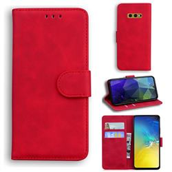 Retro Classic Skin Feel Leather Wallet Phone Case for Samsung Galaxy S10e (5.8 inch) - Red