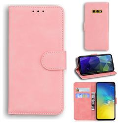 Retro Classic Skin Feel Leather Wallet Phone Case for Samsung Galaxy S10e (5.8 inch) - Pink