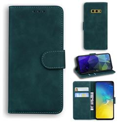 Retro Classic Skin Feel Leather Wallet Phone Case for Samsung Galaxy S10e (5.8 inch) - Green