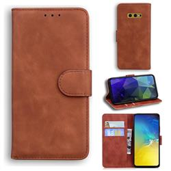 Retro Classic Skin Feel Leather Wallet Phone Case for Samsung Galaxy S10e (5.8 inch) - Brown