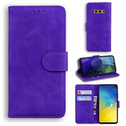 Retro Classic Skin Feel Leather Wallet Phone Case for Samsung Galaxy S10e (5.8 inch) - Purple