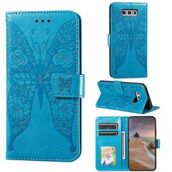 Intricate Embossing Rose Flower Butterfly Leather Wallet Case for Samsung Galaxy S10e (5.8 inch) - Blue