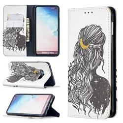 Girl with Long Hair Slim Magnetic Attraction Wallet Flip Cover for Samsung Galaxy S10e (5.8 inch)